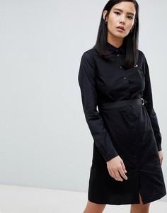 Черное платье-рубашка с контрастной строчкой Fred Perry - Черный
