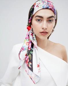 Большой квадратный платок на голову/шею с разным цветочным принтом ASOS DESIGN - Черный