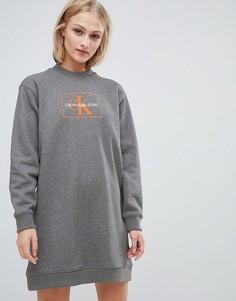 Платье-свитшот с логотипом Calvin Klein Jeans - Серый