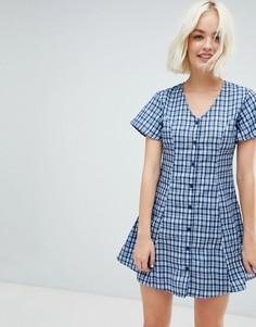 Короткое приталенное платье в клетку Daisy Street - Синий