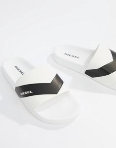 Белые шлепанцы с логотипом Diesel - Белый