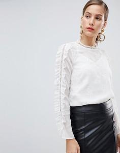 Белая блузка с вышивкой River Island - Кремовый
