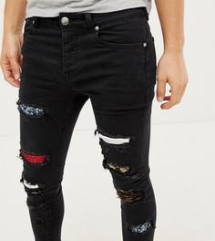 Черные супероблегающие джинсы с рваной отделкой Sixth June эксклюзивно для ASOS - Черный