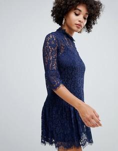 Темно-синее кружевное платье с оборками Missguided - Синий