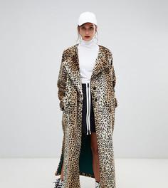 Длинное пальто из искусственного меха с леопардовым принтом Story Of Lola - Мульти