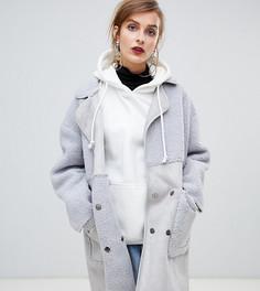 Пальто со вставками из искусственной овчины Story Of Lola - Серый
