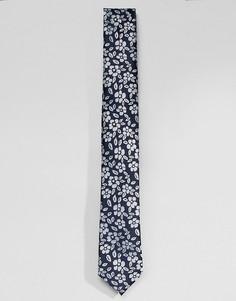 Галстук с цветочным принтом Selected Homme - Темно-синий
