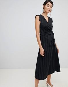 Платье-футляр в полоску с запахом Closet London - Черный