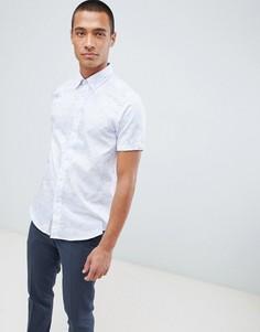 Белая рубашка с короткими рукавами и принтом листьев Ted Baker - Белый