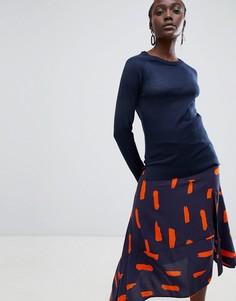 Джемпер с добавлением шерсти и круглым вырезом Selected - Темно-синий
