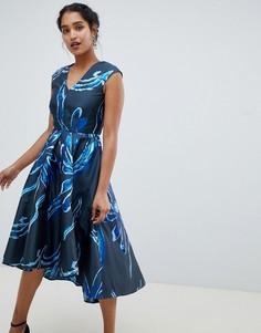 Жаккардовое платье с асимметричным краем Closet London - Темно-синий