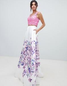 Платье для выпускного с цветочным принтом на юбке Forever Unique - Мульти