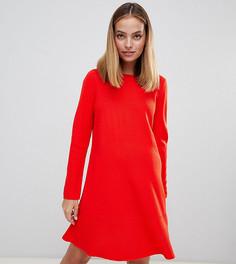 Трикотажное платье для миниатюрных девушек с оборками ASOS DESIGN - Красный