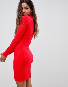 Трикотажное платье в рубчик с отворачивающимся воротником ASOS DESIGN - Красный