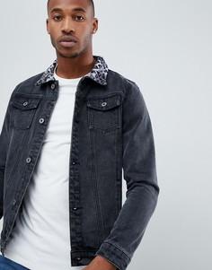 Черная джинсовая куртка с леопардовым принтом на воротнике Liquor N Poker - Черный
