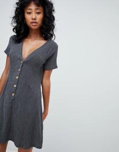 Серое платье на пуговицах Pull&Bear - Серый Pull&;Bear