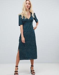 Чайное платье миди в горошек Fashion Union - Зеленый
