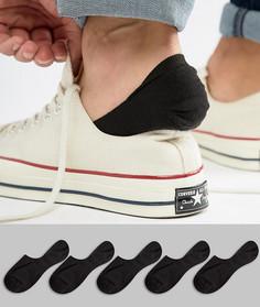 Комплект из 5 пар невидимых черных носков ASOS - Черный