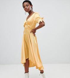 Атласное чайное платье миди с оборкой Lost Ink Petite - Желтый
