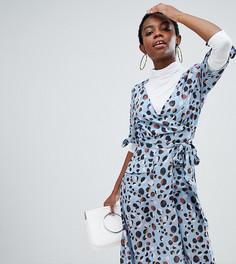 Платье миди с завязками на рукавах и леопардовым принтом Lost Ink Petite - Синий