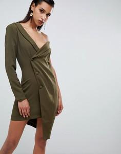 Асимметричное платье в стиле смокинга Lavish Alice - Зеленый