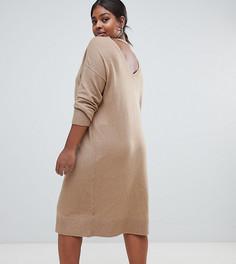 Платье-джемпер миди с открытой спиной Micha Lounge Curve - Рыжий