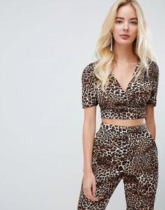 Кроп-топ от комплекта с запахом и леопардовым принтом Fashion Union - Мульти