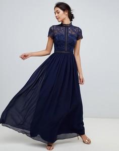 Темно-синее платье макси 2 в 1 с кружевным верхом Chi Chi London - Темно-синий