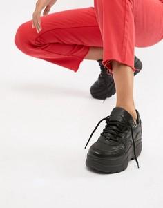 Черные кожаные кроссовки на толстой подошве Steve Madden Girla - Черный