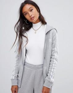 Серый худи на молнии с тремя полосками adidas Originals - Серый