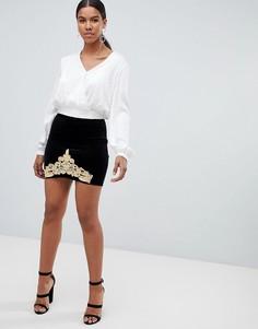 Бархатная юбка с золотистой отделкой Missguided - Черный