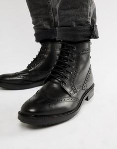 Черные ботинки-броги Base London Hopkins - Черный