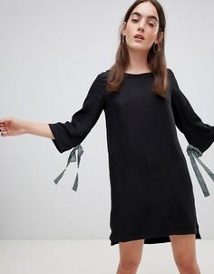 Свободное платье с бантиками на рукавах Native Youth - Черный