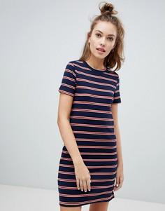 Трикотажное платье в полоску Pull&Bear - Темно-синий Pull&;Bear