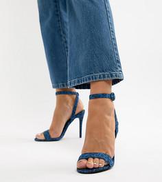 Босоножки на каблуке с леопардовым принтом New Look Wide Fit - Коричневый