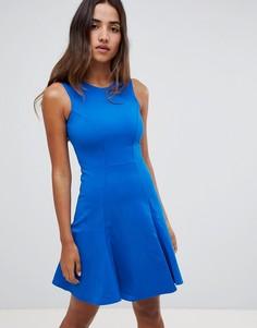 Приталенное платье из двойного трикотажа со свободной юбкой Closet London - Синий