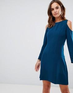 Платье-трапеция с открытыми плечами Closet London - Зеленый