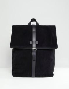Черный замшевый рюкзак с отделением для ноутбука ASOS DESIGN - Черный