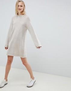 Вязаное платье мини из пушистой пряжи ASOS DESIGN - Бежевый
