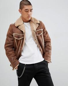 Коричневая куртка в стиле вестерн из искусственной овчины ASOS DESIGN - Коричневый