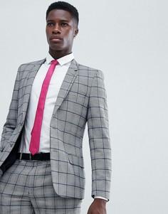 Облегающий пиджак в клетку принц Уэльский ASOS DESIGN - Серый