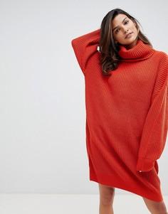 Трикотажное платье-джемпер с воротником-стойкой Micha Lounge - Оранжевый