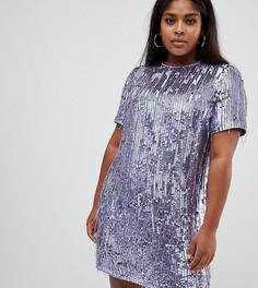 Платье мини с отделкой пайетками ASOS DESIGN Curve - Фиолетовый