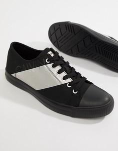 Кеды с серебристой полосой Calvin Klein - Черный
