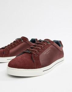 Бордовые фактурные кроссовки Ted Baker Eeril - Красный