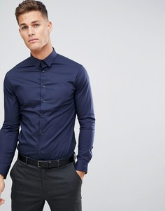 Темно-синяя эластичная строгая рубашка Celio - Темно-синий