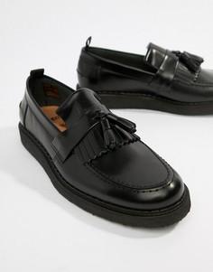 Черные кожаные лоферы с кисточками Fred Perry - Черный