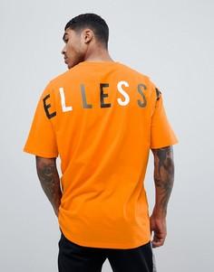 Оранжевая oversize-футболка с логотипом на спине ellesse Pineto - Оранжевый