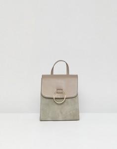 Кожаный рюкзак с кольцом ASOS DESIGN - Серый