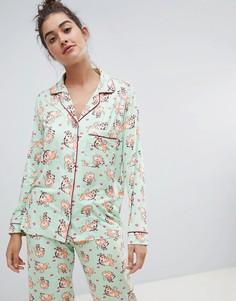 Пижама с принтом собак Chelsea Peers - Зеленый